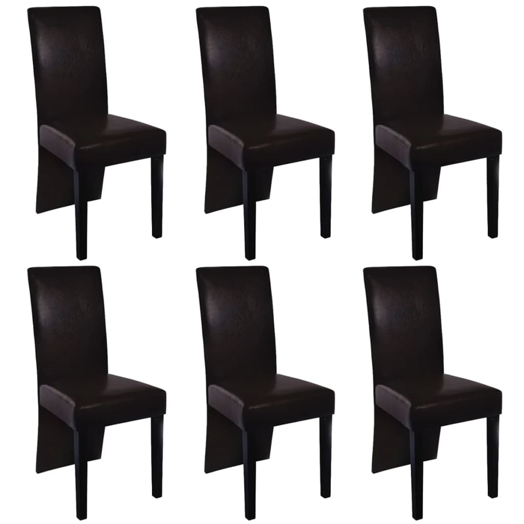 6 artificial leather wooden dining chairs brown for Brown leather dining chairs