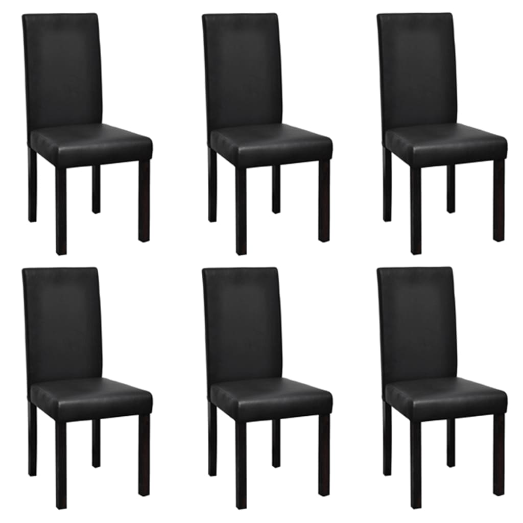 6 Modern Artificial Leather Wooden Dining Chairs Black