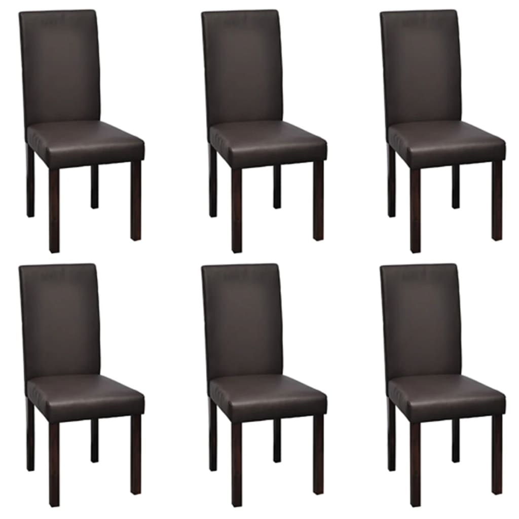 modern artificial leather wooden dining chairs brown