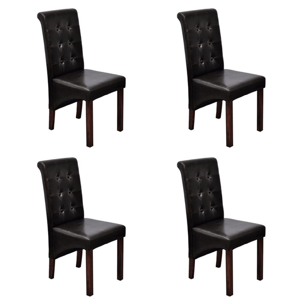 back artificial leather wooden dining chairs dark brown