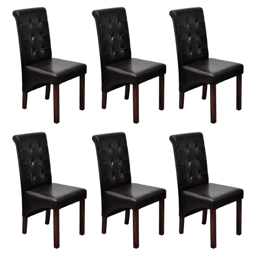 scroll back artificial leather wooden dining chairs dark brown