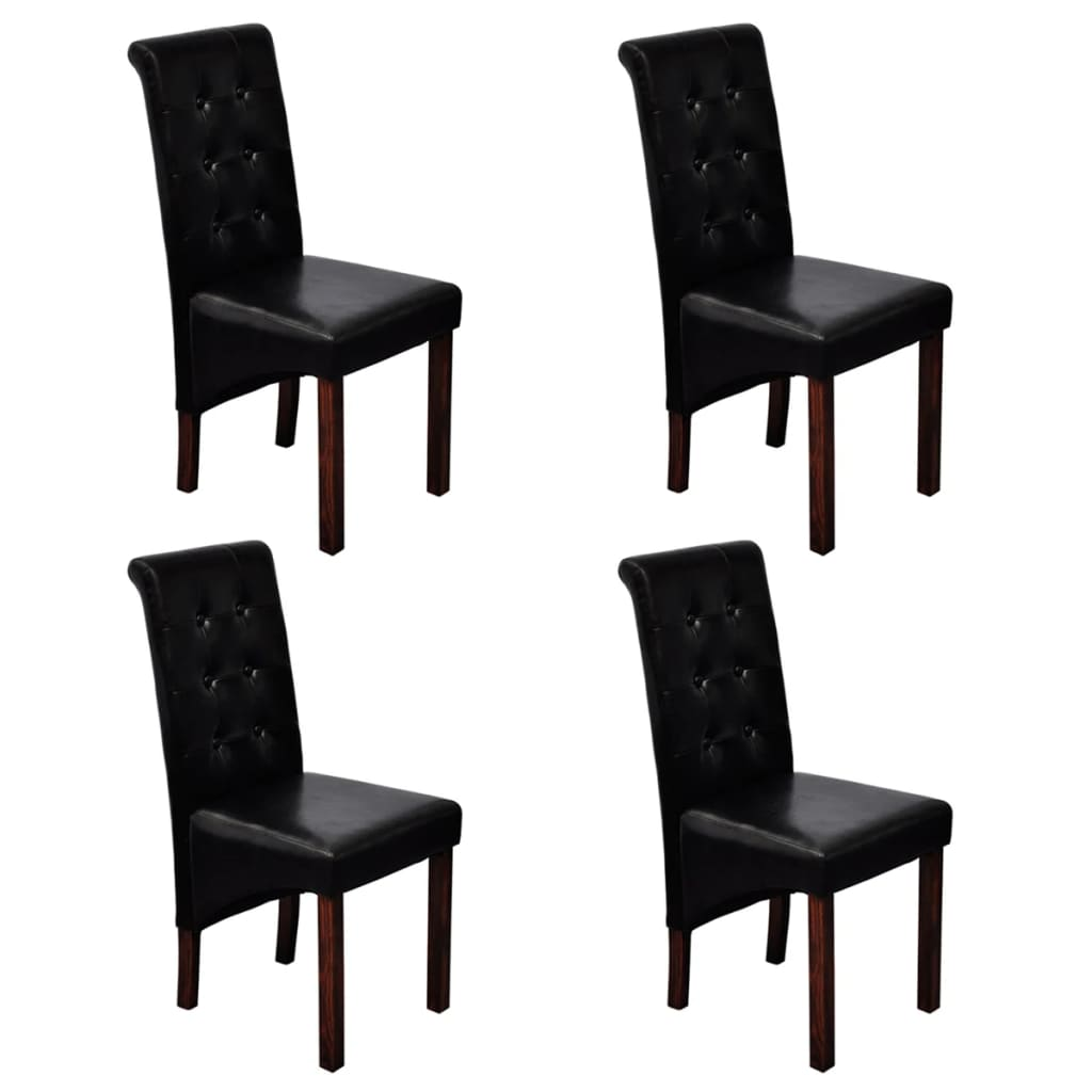 4 scroll back artificial leather wooden dining chairs for Black dining sets with 4 chairs