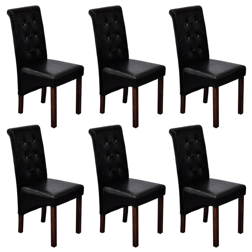 6 scroll back artificial leather wooden dining chairs black for Black dining sets with 6 chairs