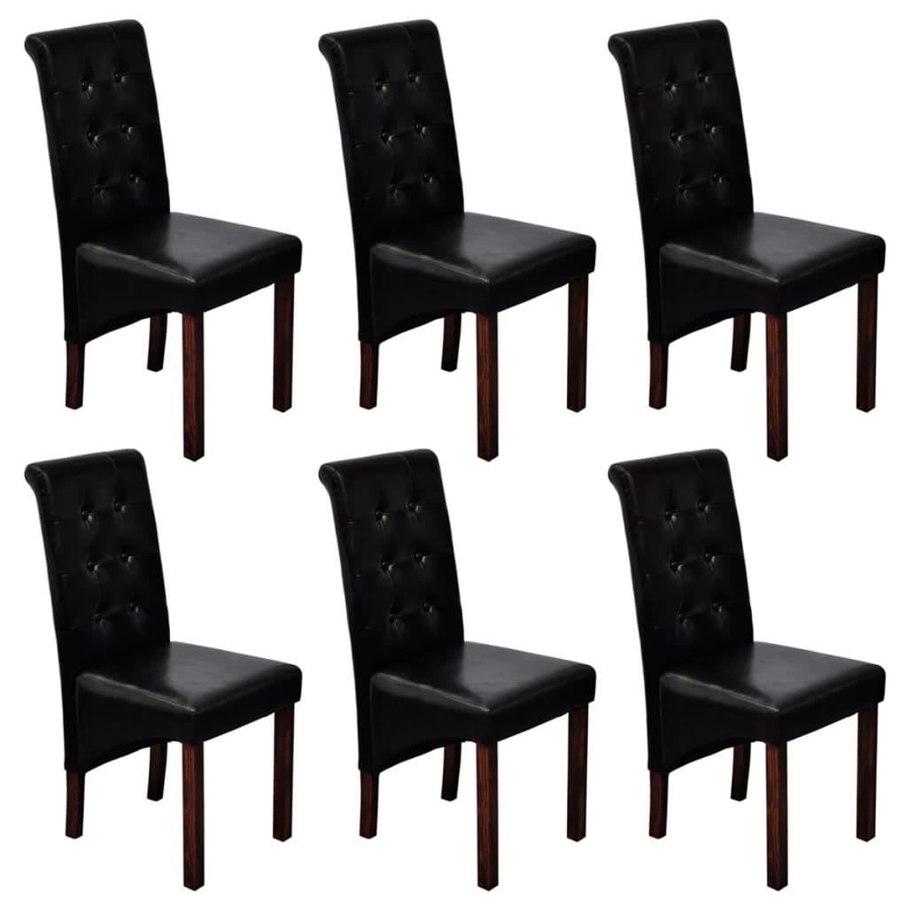 6 scroll back artificial leather wooden dining chairs for Black dining sets with 6 chairs