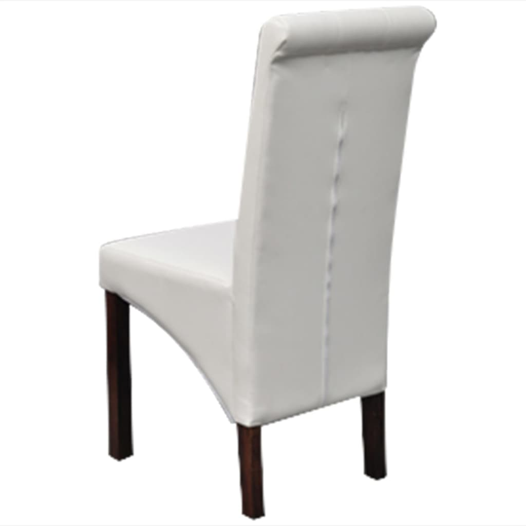 4 scroll back artificial leather wooden dining chairs white. Black Bedroom Furniture Sets. Home Design Ideas