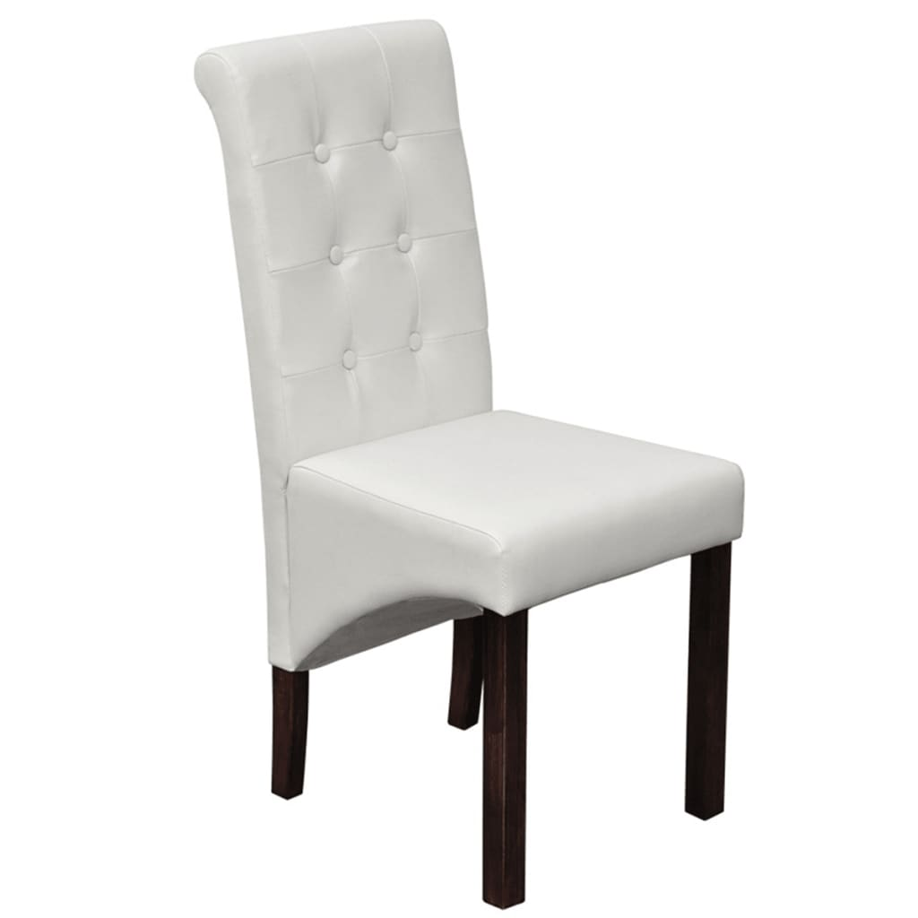 scroll back artificial leather wooden dining chairs white vidaxl