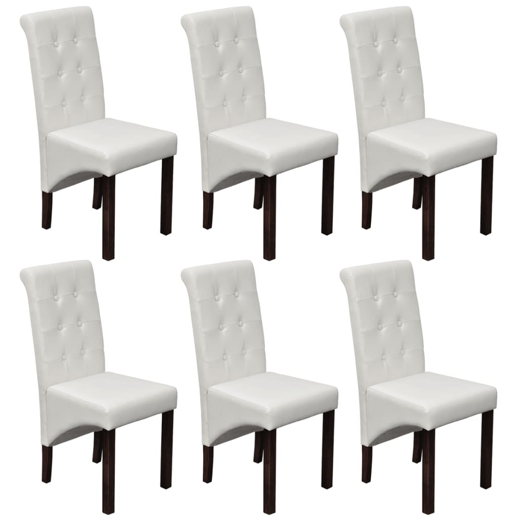 2 4 6 White Dining Side Chairs Tufted