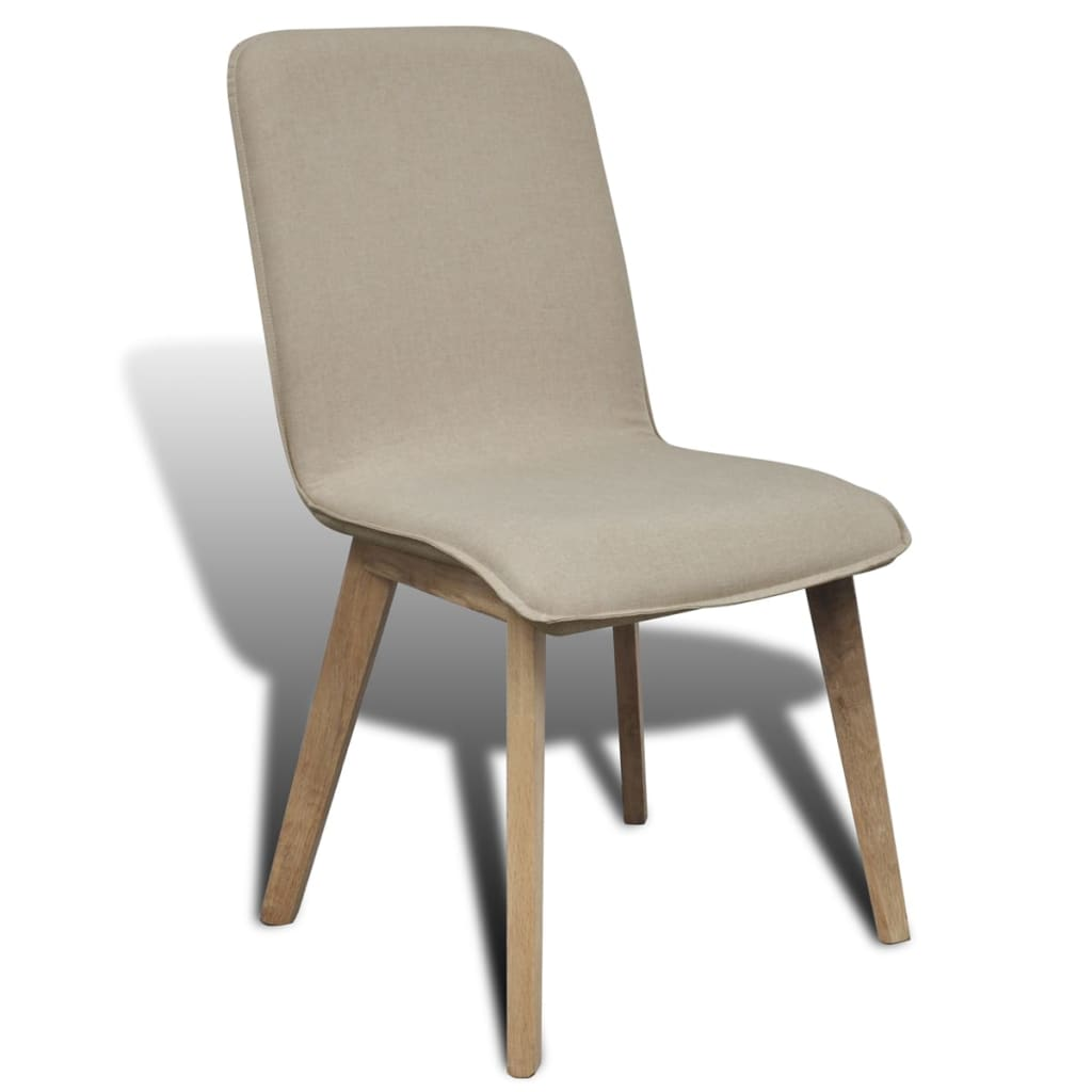 6 beige fabric oak dining chairs indoor for Oak dining chairs