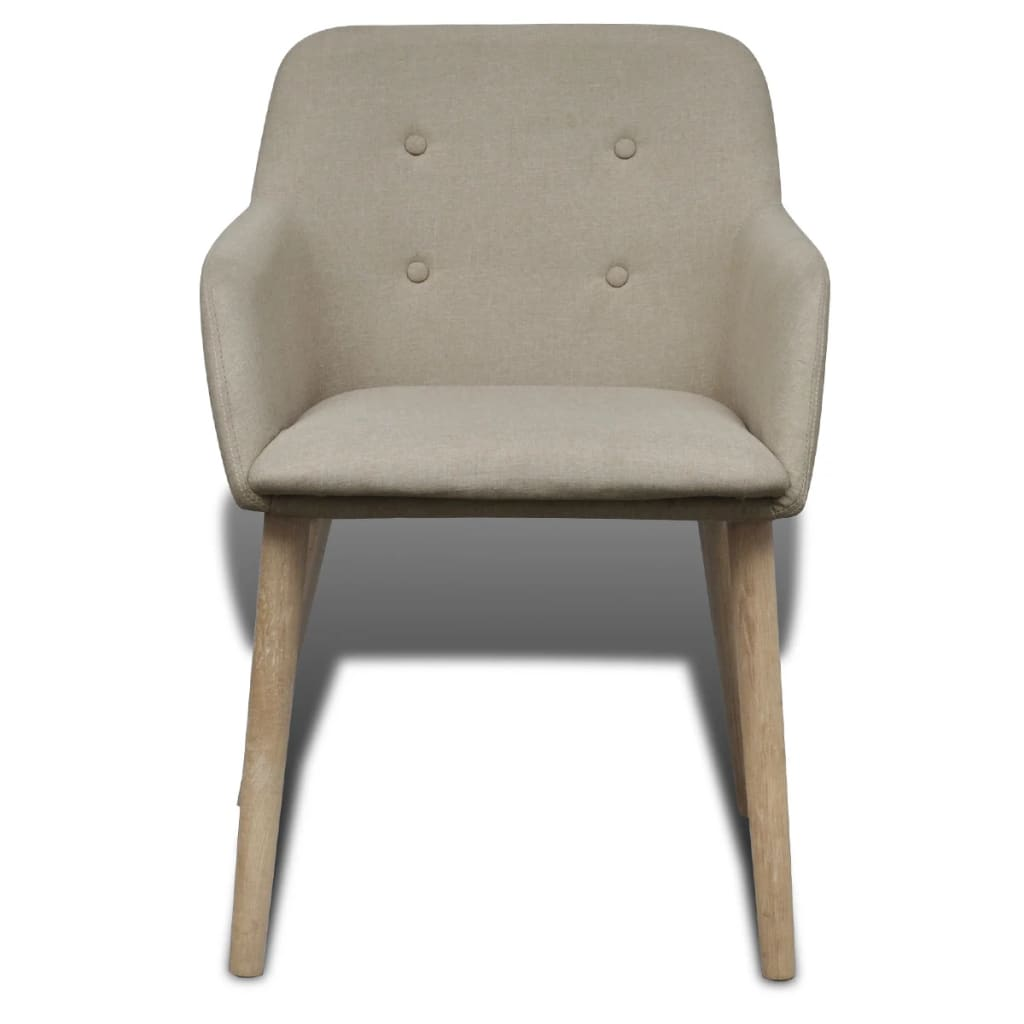 4 fabric dining chairs with armrest beige for Sillas comedor con apoyabrazos