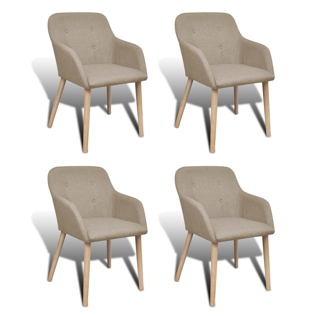4 Fabric Dining Chairs With Armrest Beige