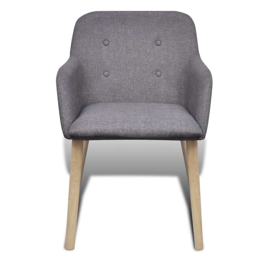 4 Fabric Dining Chairs With Armrest Dark Gray
