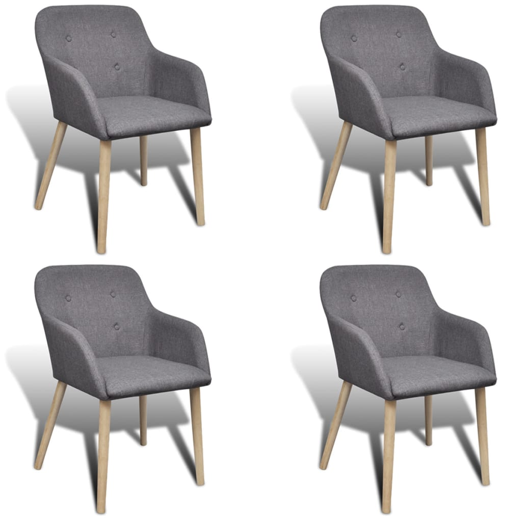 4 Fabric Dining Chairs With Armrest Dark Gray Vidaxl Com