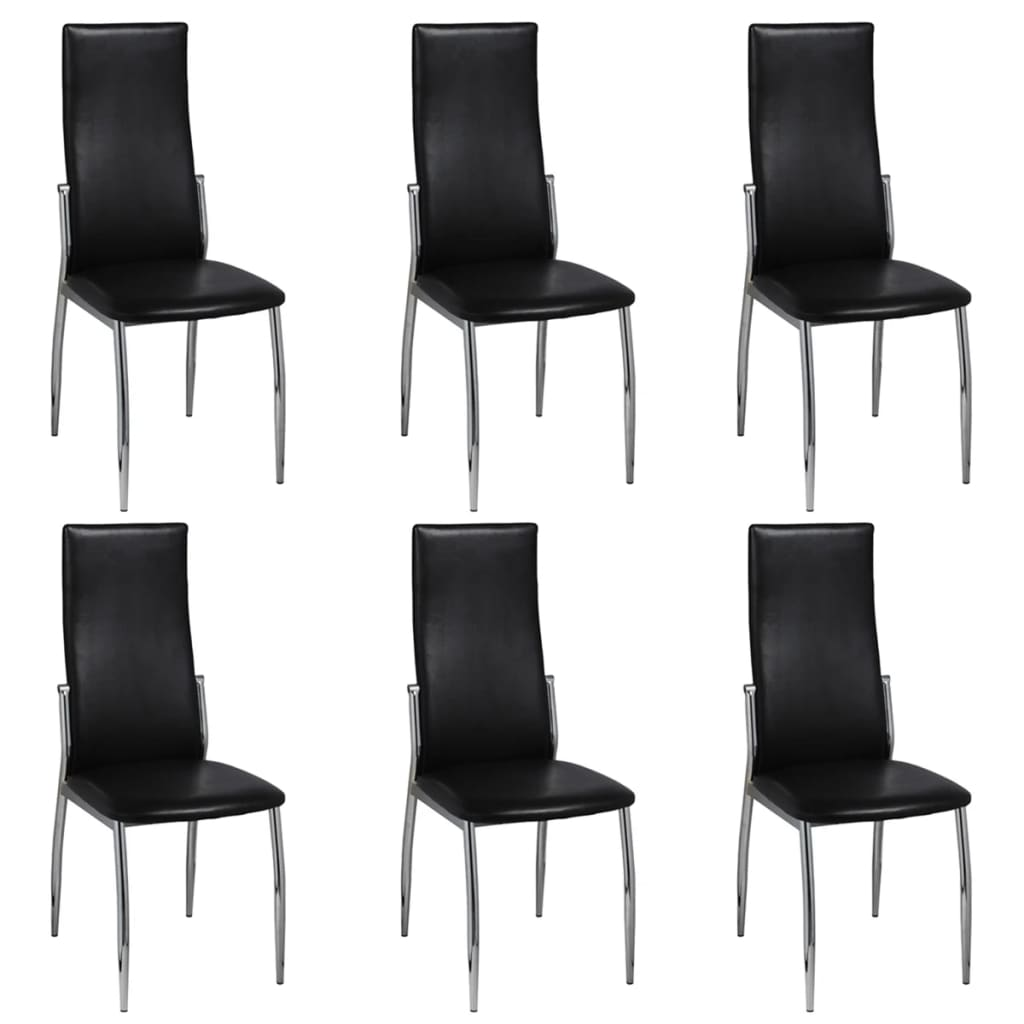 6 artificial leather iron black dining chairs for Black dining sets with 6 chairs