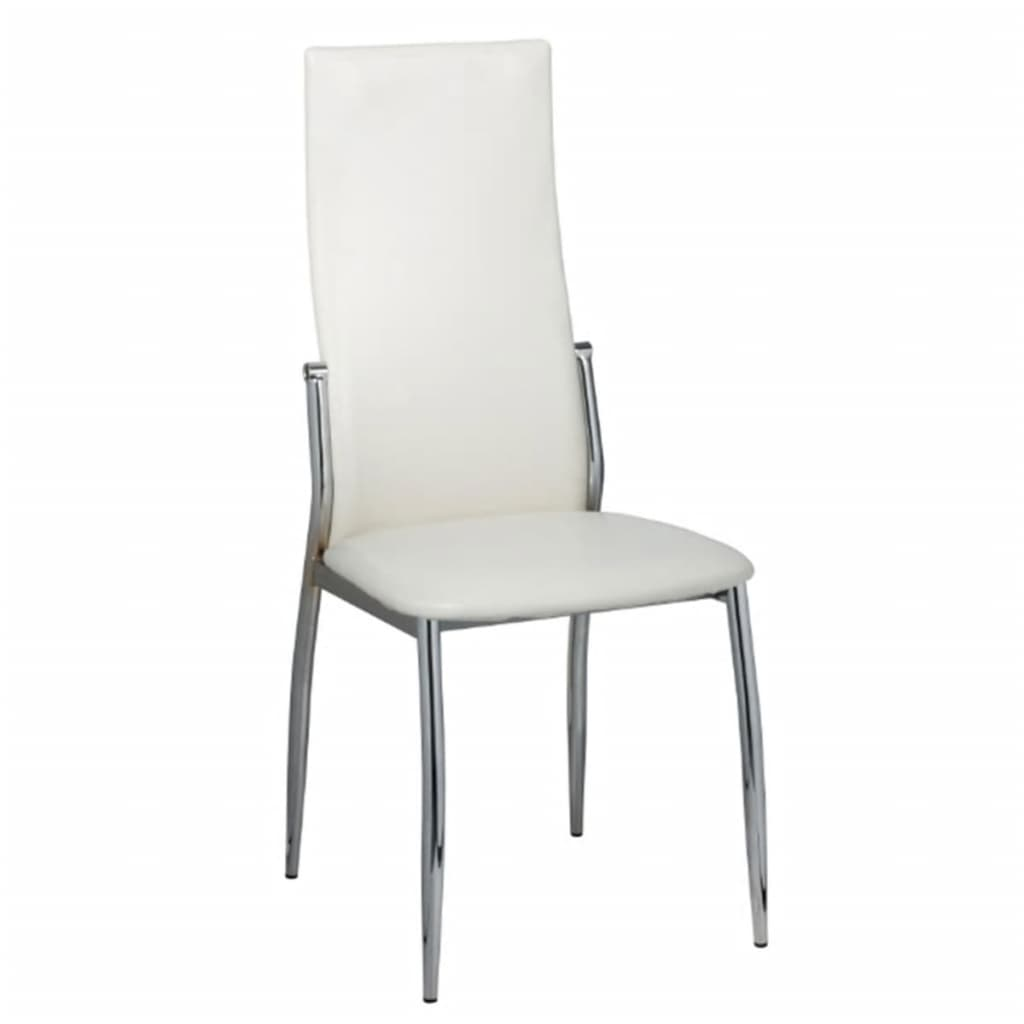 6 Artificial Leather Iron White Dining Chairs