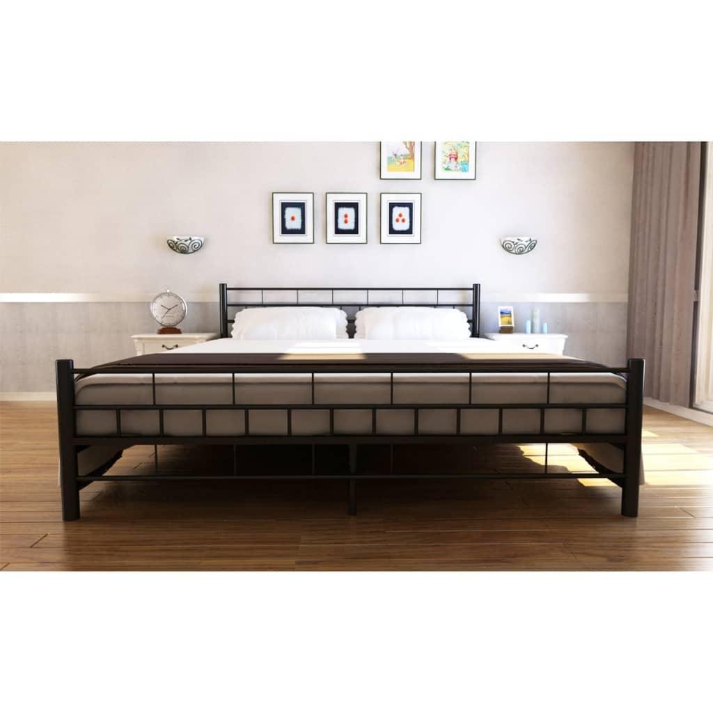 bett metallbett pulverbeschichteter stahl 180x200 cm schwarz matratze g nstig kaufen. Black Bedroom Furniture Sets. Home Design Ideas