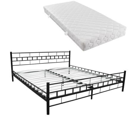 bett metallbett pulverbeschichteter stahl 180x200 cm schwarz matratze im vidaxl trendshop. Black Bedroom Furniture Sets. Home Design Ideas