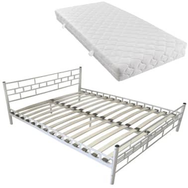 lit en acier enduit de poudre 180 x 200 cm blanc avec matelas. Black Bedroom Furniture Sets. Home Design Ideas