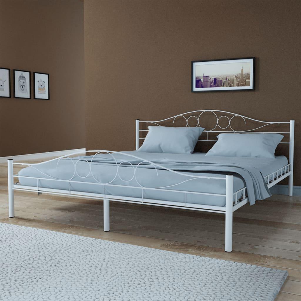 acheter lit courbe en acier enduit de poudre 180 x 200 cm blanc avec matelas pas cher. Black Bedroom Furniture Sets. Home Design Ideas
