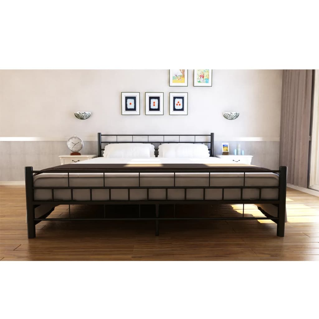 bett pulverbeschichteter stahl 140x200 cm schwarz memory matratze g nstig kaufen. Black Bedroom Furniture Sets. Home Design Ideas