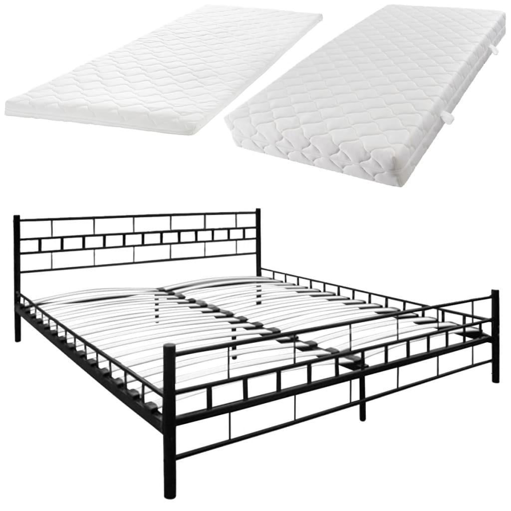 acheter lit en acier 140 x 200 cm noir matelas surmatelas. Black Bedroom Furniture Sets. Home Design Ideas