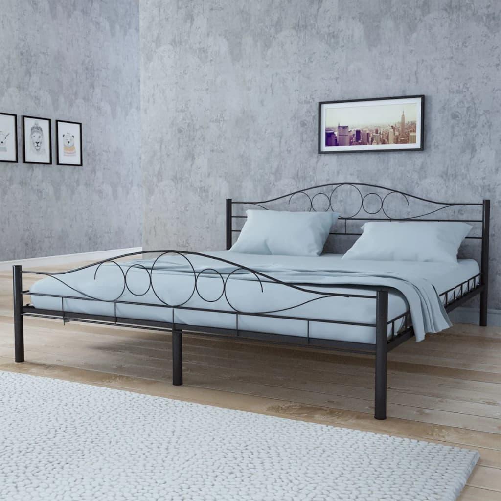 acheter lit courbe en acier 140 x 200 cm noir matelas surmatelas m moire pas cher. Black Bedroom Furniture Sets. Home Design Ideas