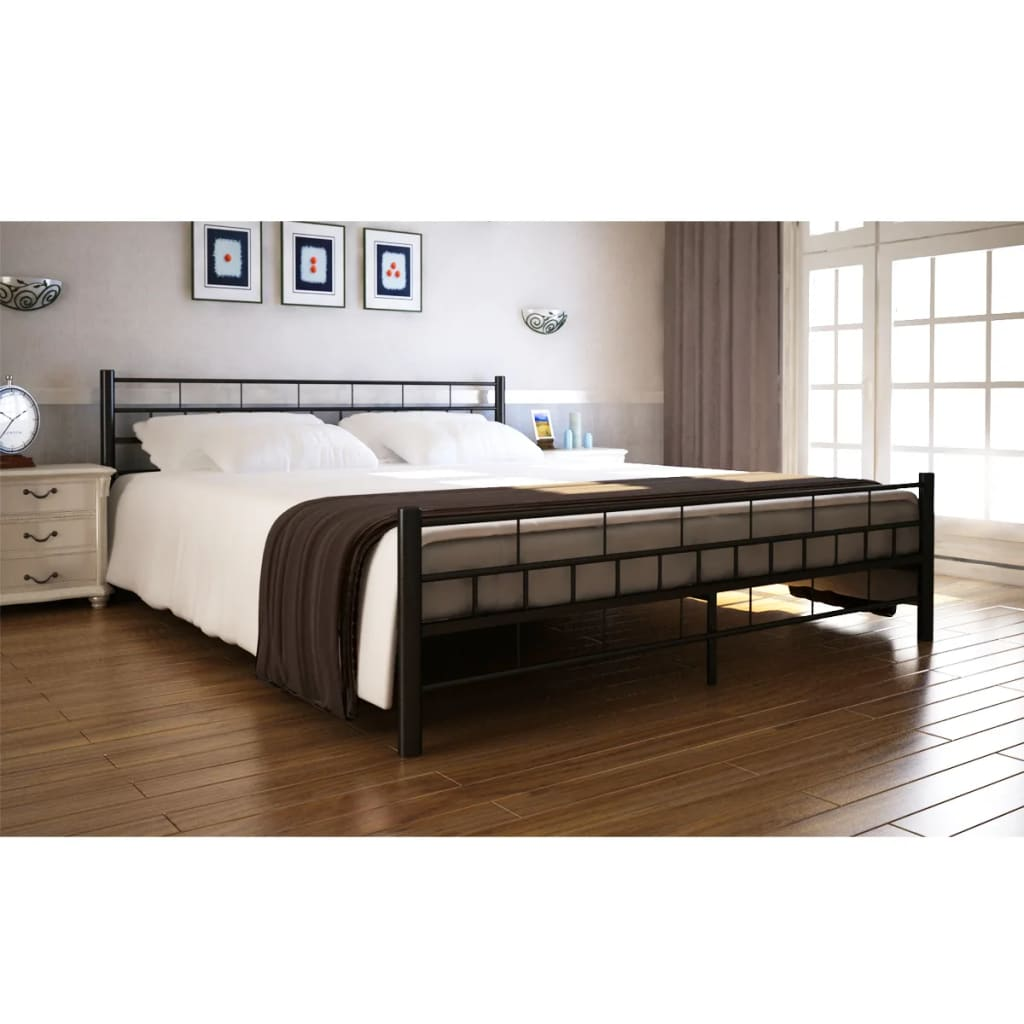 acheter lit en acier 140 x 200 cm noir matelas surmatelas m moire pas cher. Black Bedroom Furniture Sets. Home Design Ideas