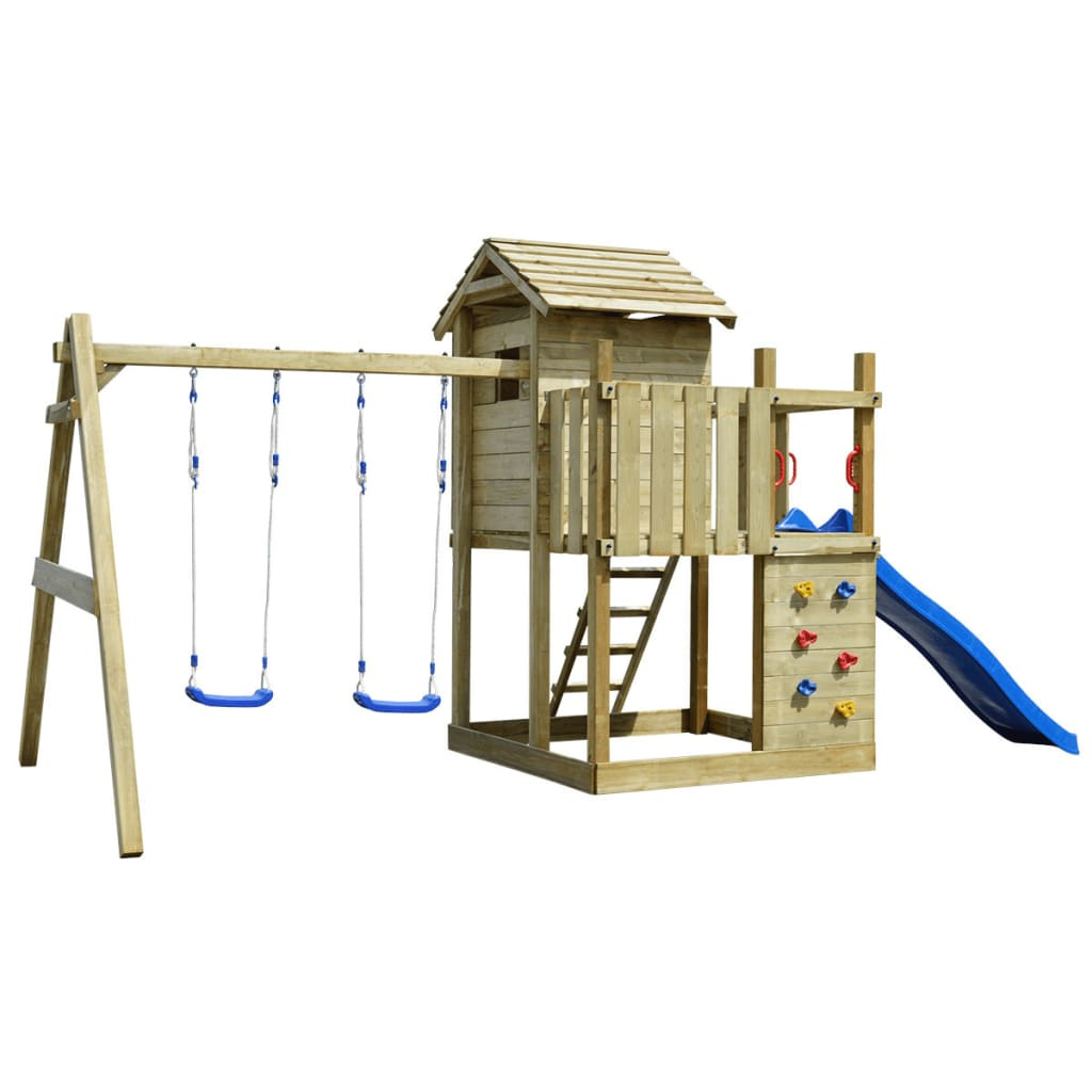Vidaxl Co Uk Wooden Playset With Ladder Slide And