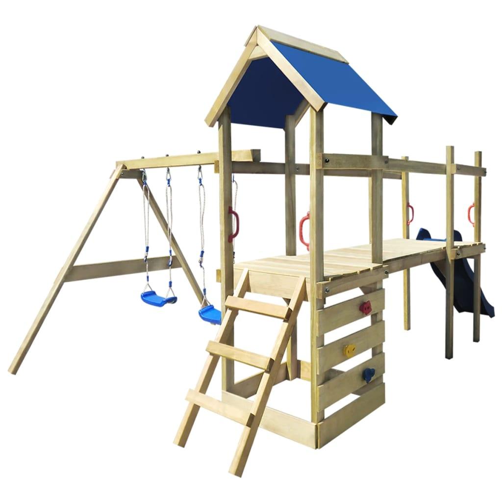 acheter aire de jeux en bois avec chelle toboggan balan oires 463x275x243cm pas cher. Black Bedroom Furniture Sets. Home Design Ideas