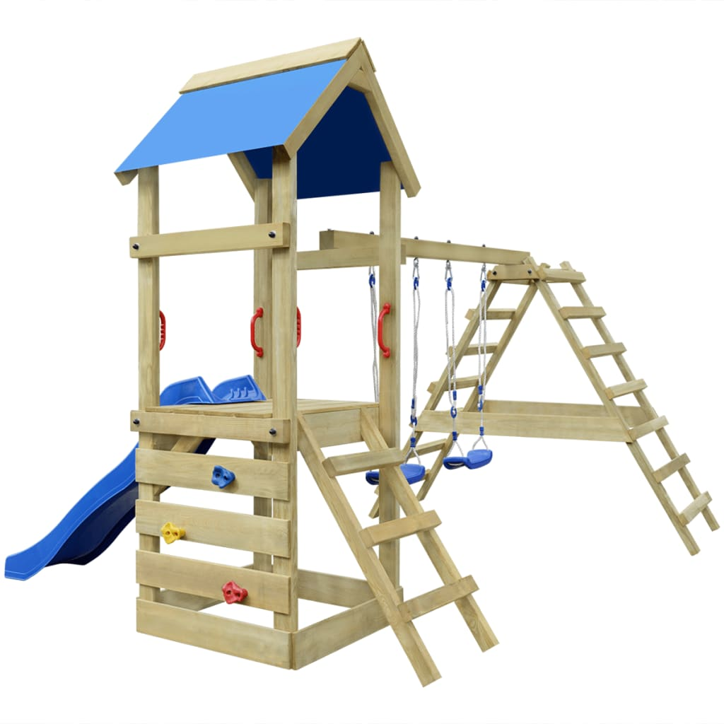 wooden playset with ladders slide and swings 356 x 255 x 242 cm. Black Bedroom Furniture Sets. Home Design Ideas