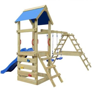 Leseni igralni set z lestvijo, toboganom in gugalnicama 356x255x242cm[3/6]