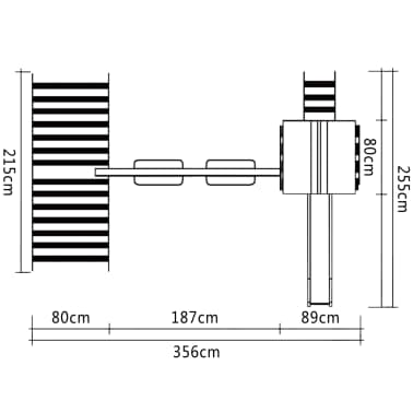 Leseni igralni set z lestvijo, toboganom in gugalnicama 356x255x242cm[6/6]