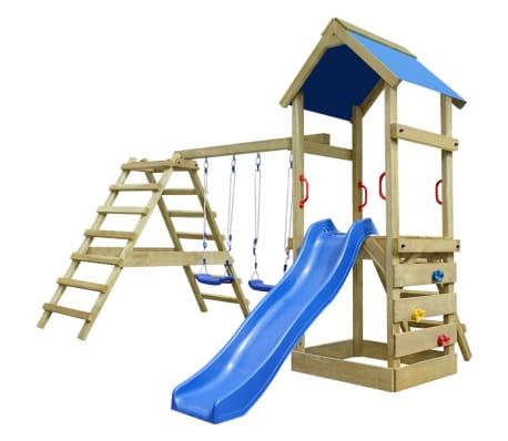Drveno igralište s ljestvama, toboganom i ljuljačkama 356x255x242 cm