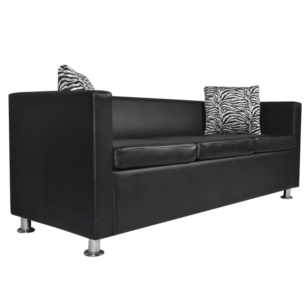acheter ensemble canap 3 places et 2 places en cuir artificiel noir pas cher. Black Bedroom Furniture Sets. Home Design Ideas
