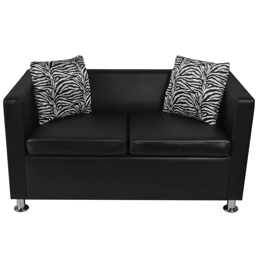 vidaxl sofa set 3 sitzer 2 sitzer kunstledersofa loungesofa couch kissen schwarz eur 301 99. Black Bedroom Furniture Sets. Home Design Ideas