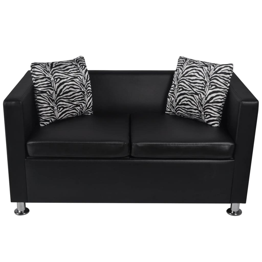 Set de dos sof s negros de 2 plazas y de 3 plazas for Sofas de dos plazas
