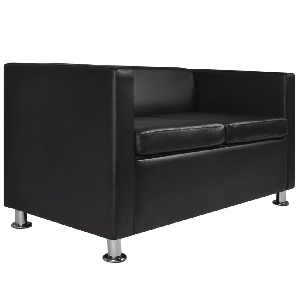 vidaxl sofa set 3 sitzer 2 sitzer kunstledersofa loungesofa couch kissen schwarz eur 301 99. Black Bedroom Furniture Sets. Home Design Ideas