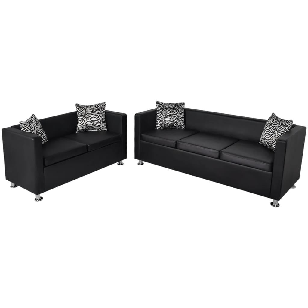 vidaXL 3 és 2 személyes kanapé szett fekete