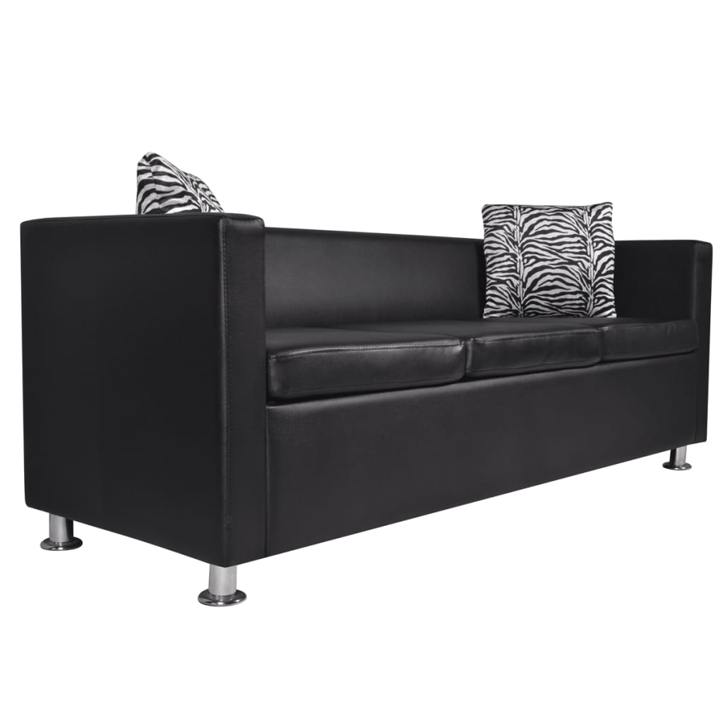 acheter set canap 3 places 2 places et fauteuil cube en cuir artificiel noir pas cher. Black Bedroom Furniture Sets. Home Design Ideas
