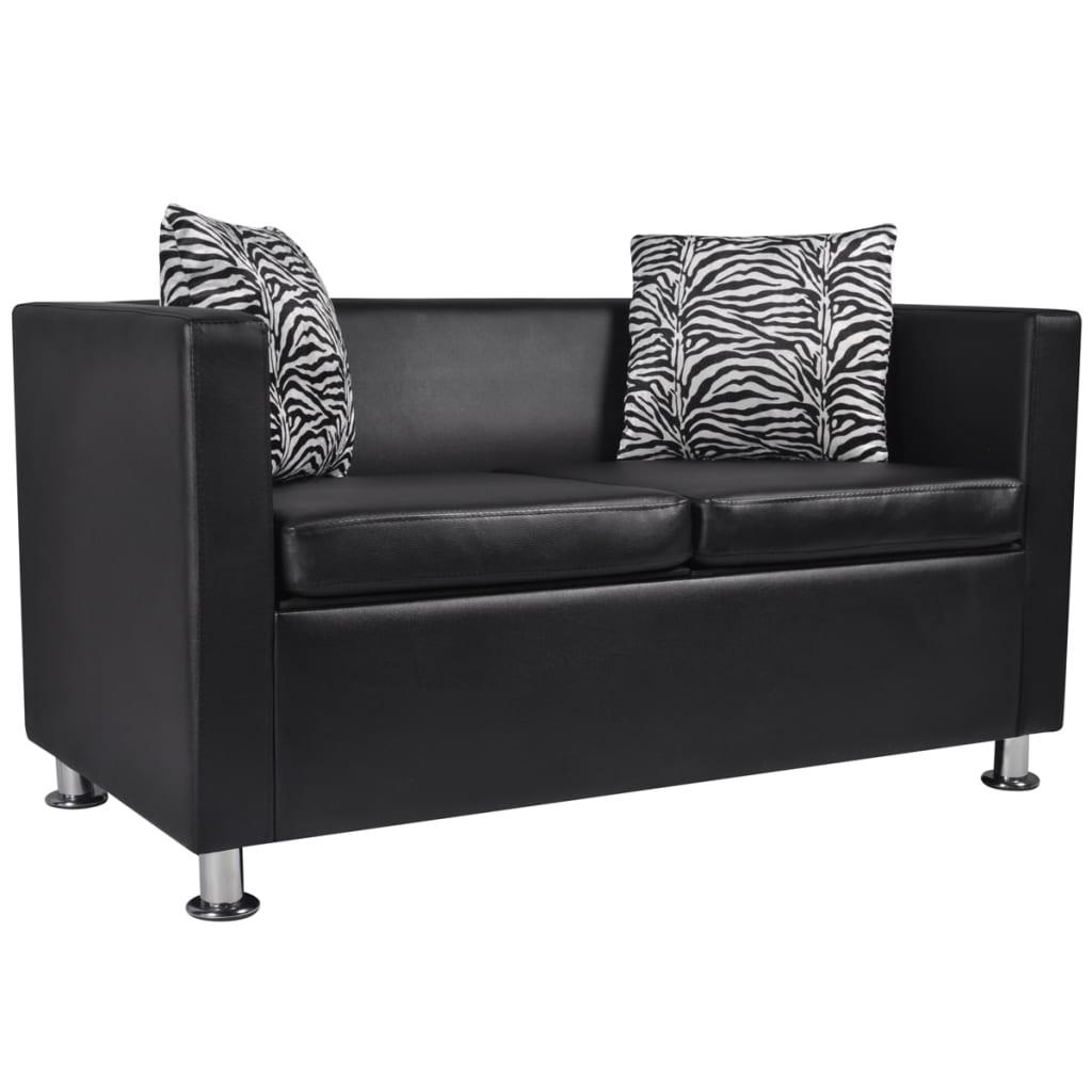 la boutique en ligne set canap 3 places 2 places et fauteuil cube en cuir artificiel noir. Black Bedroom Furniture Sets. Home Design Ideas