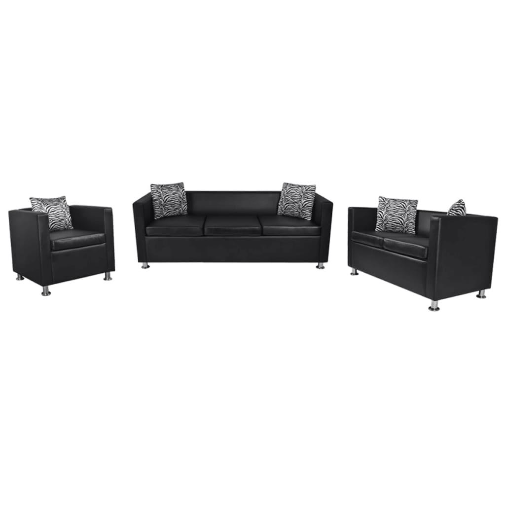 vidaXL Zwart bankstel 2 zits, 3 zits en vierkante fauteuil