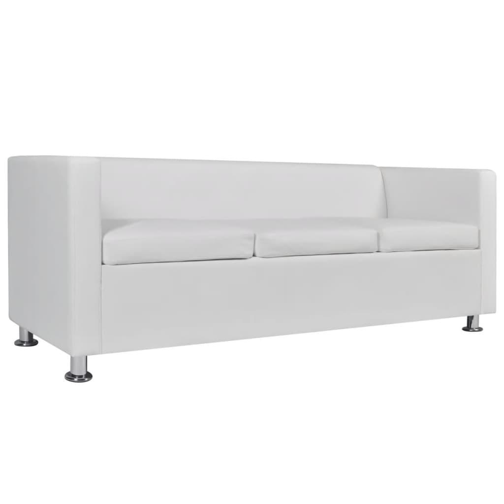 la boutique en ligne ensemble canap 3 places et 2 places en cuir artificiel blanc. Black Bedroom Furniture Sets. Home Design Ideas