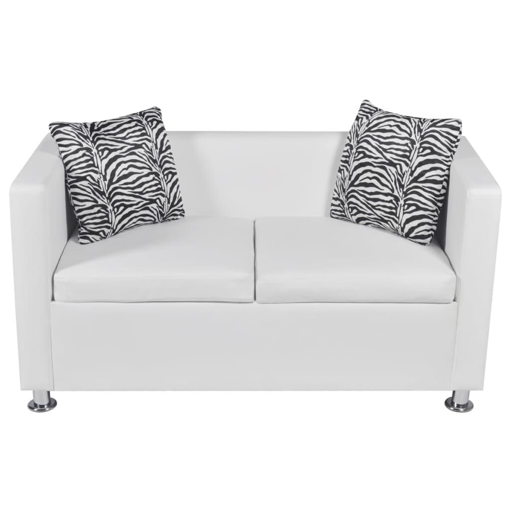 acheter ensemble canap 3 places et 2 places en cuir artificiel blanc pas cher. Black Bedroom Furniture Sets. Home Design Ideas