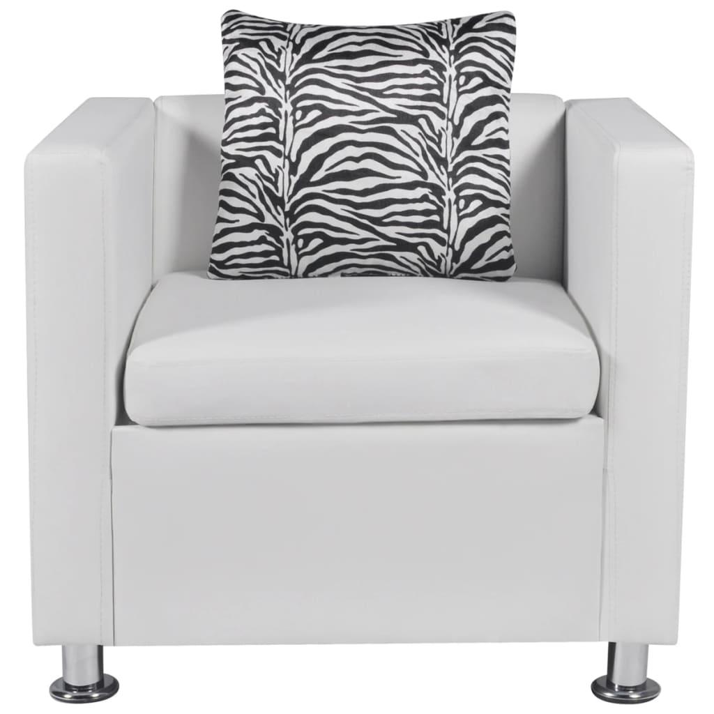acheter set canap 3 places 2 places et fauteuil cube en cuir artificiel blanc pas cher. Black Bedroom Furniture Sets. Home Design Ideas
