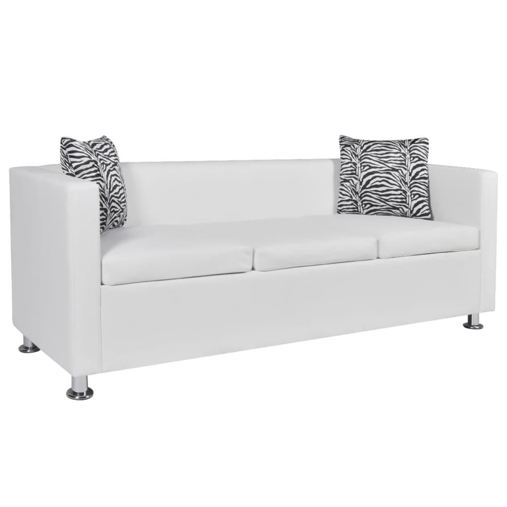 la boutique en ligne set canap 3 places 2 places et fauteuil cube en cuir artificiel blanc. Black Bedroom Furniture Sets. Home Design Ideas
