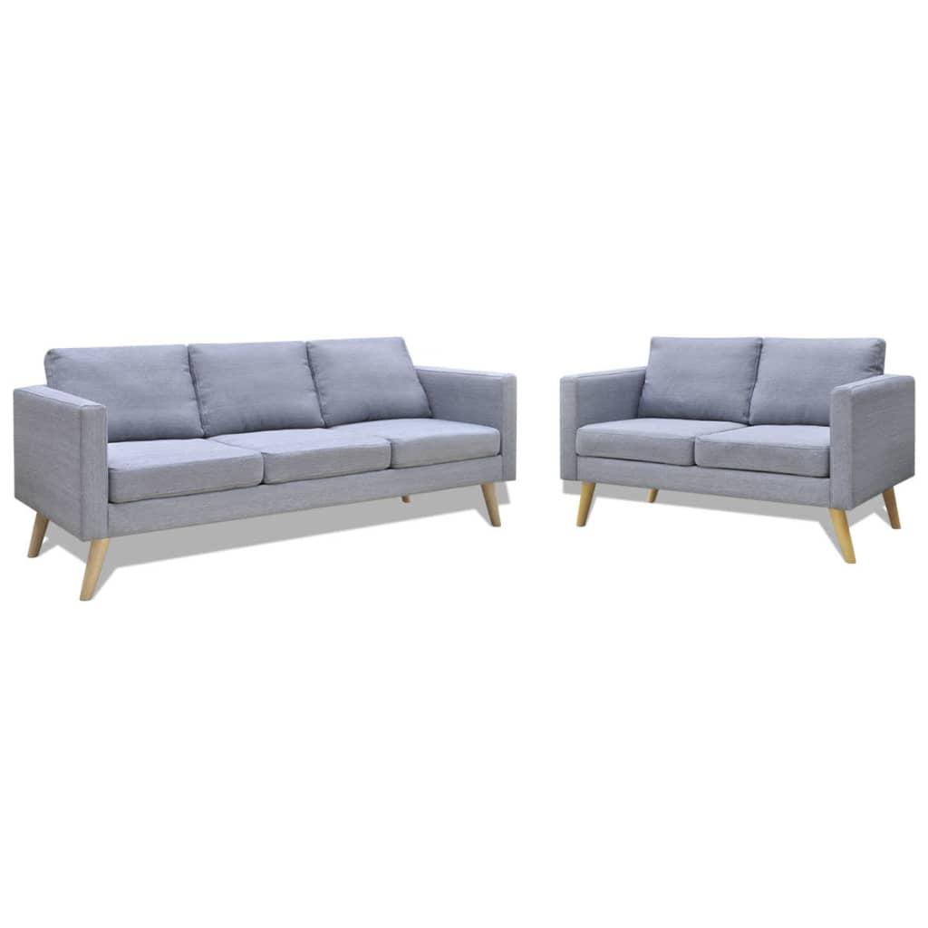 vidaXL Zestaw sof: 2-osobowa i 3-osobowa, materiałowe, jasnoszare