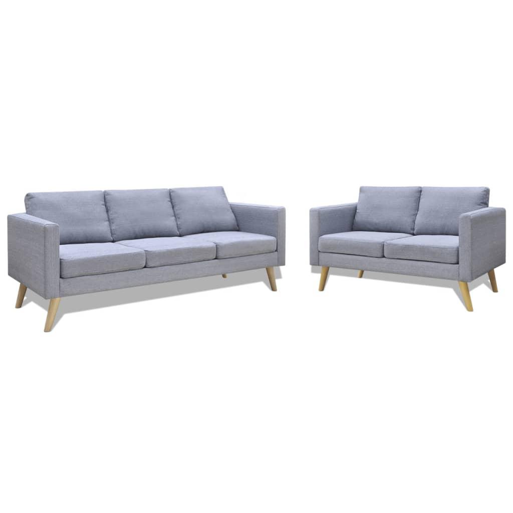 vidaXL 2 és 3 férőhelyes szövet kanapé világos szürke