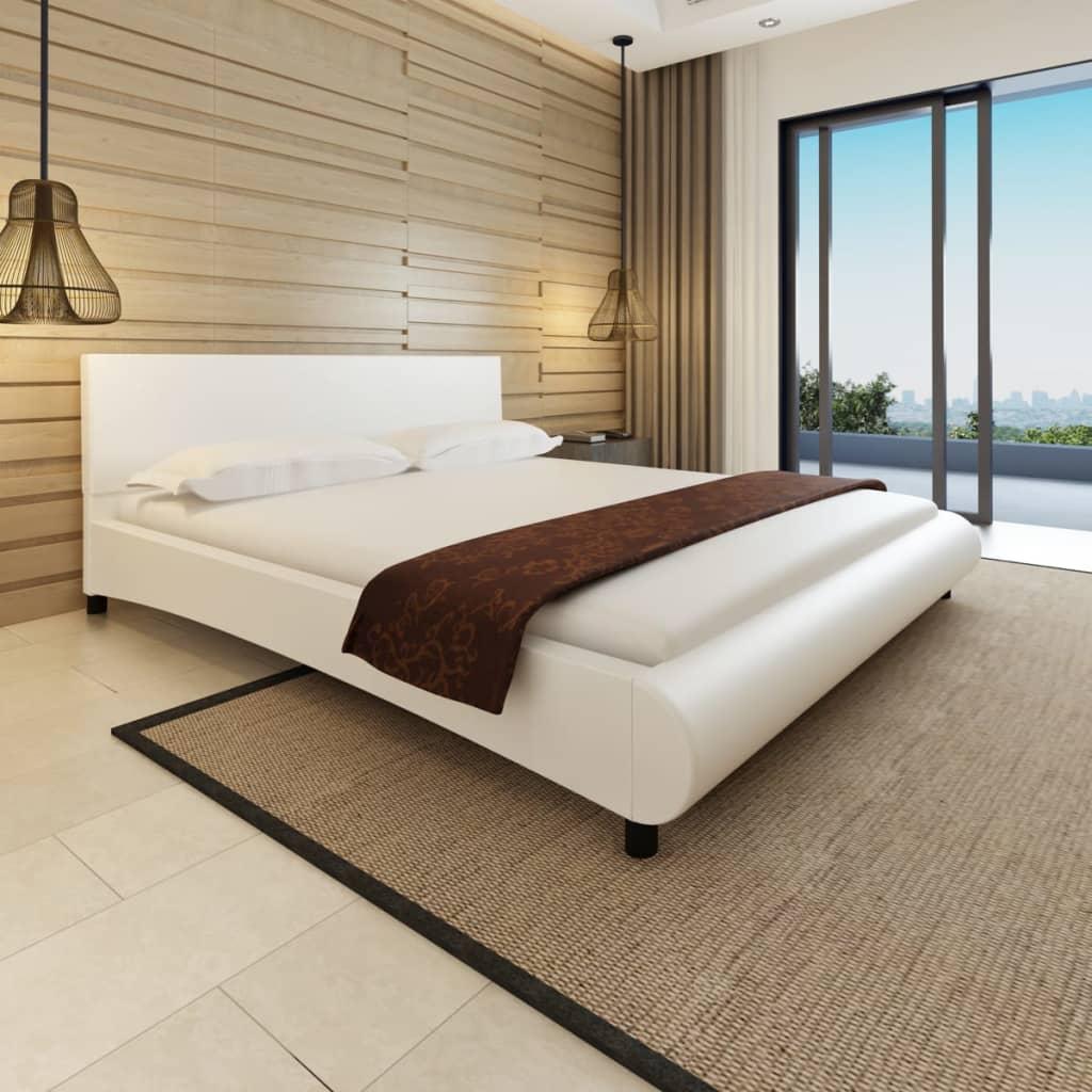 vidaXL Hullámos mesterséges bőr ágy matraccal 180 x 200 cm fehér