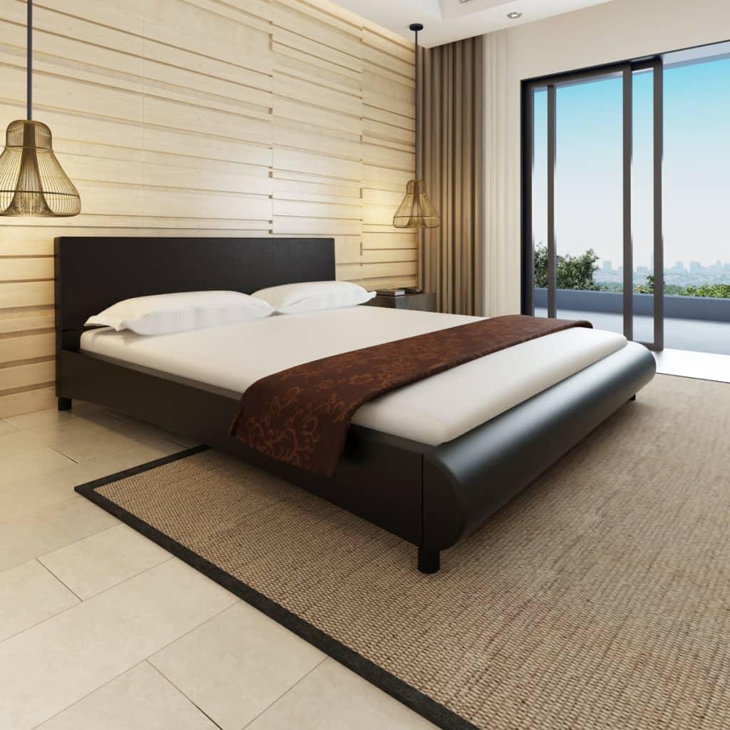 vidaXL Hullámos mesterséges bőr ágy matraccal 180 x 200 cm fekete