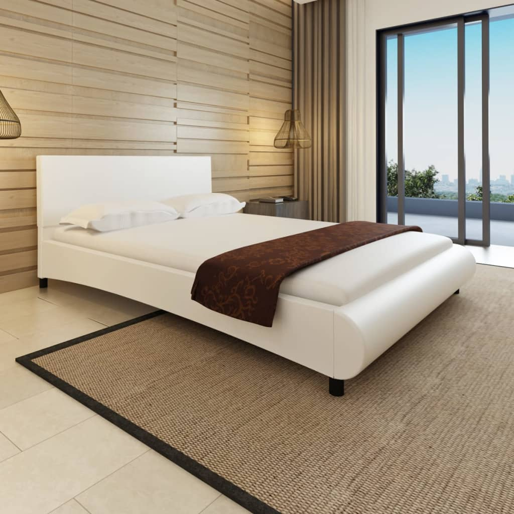 vidaXL Hullámos mesterséges bőr ágy memóriahabos matraccal 140 x 200 cm fehér