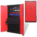 Metal Tool Storage Cabinet with Removable Tool Chest Black and Red